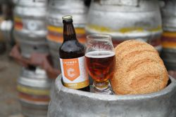 Crumbs Brewing bottle and bread Reigate