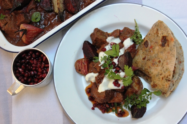 Spiced beef with roasted heritage beetroot