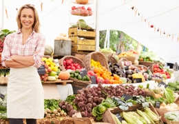 Fruit and veg stall with female stallholder | Local Food London