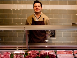 Butchers at Crockford Bridge Farm Shop Surrey