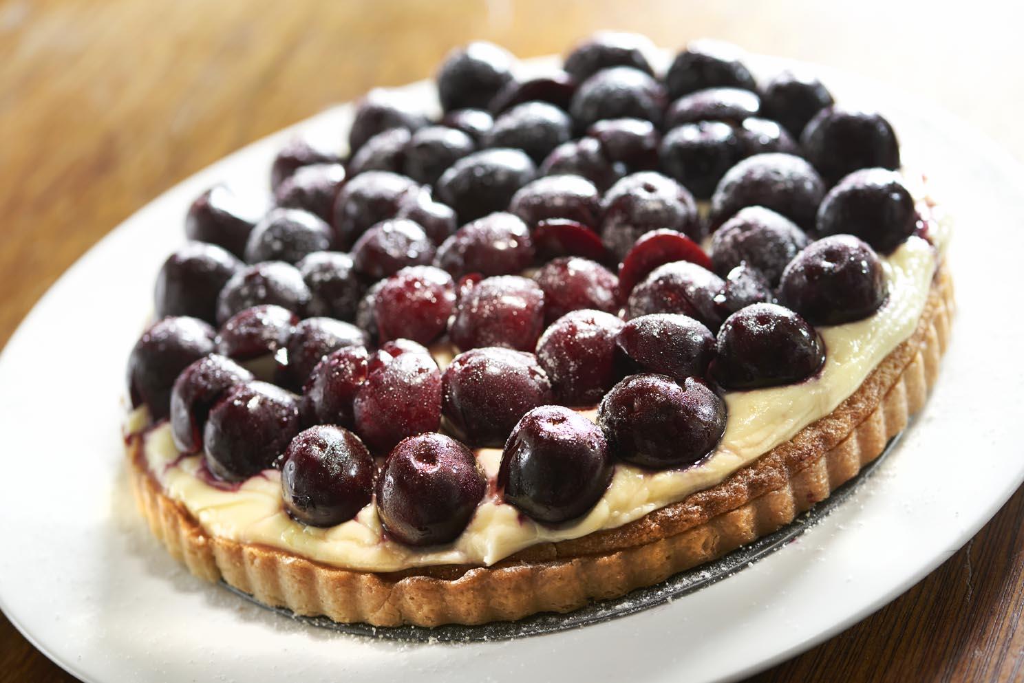 Summer cherry and frangipane cheesecake