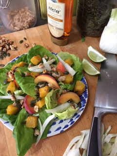 Roasted pumpkin and peach salad