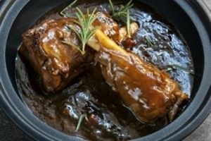 Slow roasted lamb shank with port and redcurrant Jus