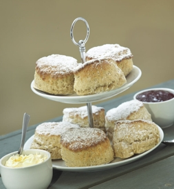 Priory Farm cafe scones on a cake stand | Local Food Surrey