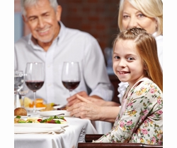 Grand-parents and grand-daughter enjoying a meal out in Hampshire | Local Food Hampshire