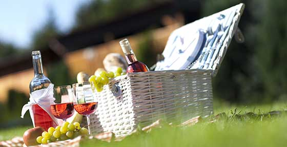 Picnic with English rose wine