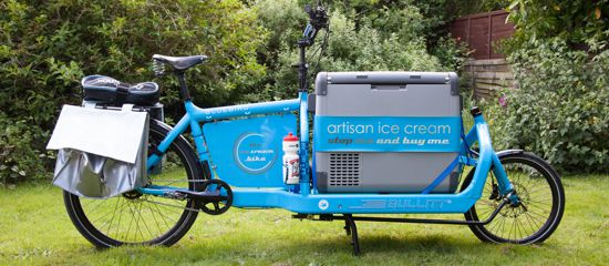 Ice cream bike that sells St Joans Dairy ice cream, Local Food Surrey