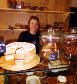 Rosie Robinson behind the counter at Chalk Hills Cafe, Reigate | Local Food Surrey