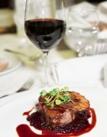 Steak with flourless red wine sauce